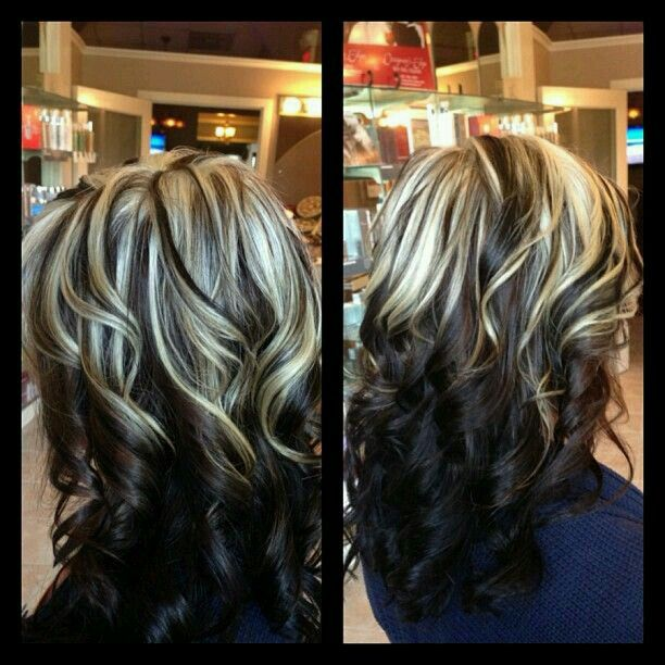 2 toned hair. Highlights on top of dark brown hair. I want to do this.