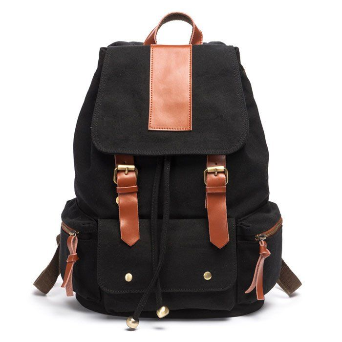 Retro Nice Big Leather Travel Canvas Backpack