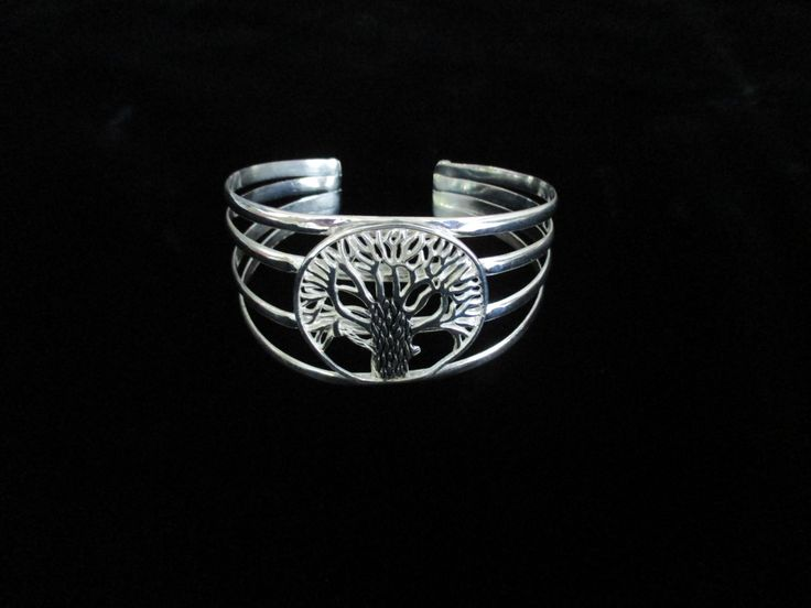 Silver Tree of Life Cuff Bracelet by BlackCatDesignBali on Etsy