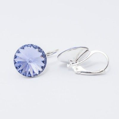 Swarovski Rivoli Earrings 12mm Provence Lavender  Dimensions: length: 1,7cm stone size: 12mm Weight ~ 3,18g ( 1 pair ) Metal : silver plated brass Stones: Swarovski Elements 1122 12mm Colour: Provence Lavender 1 package = 1 pair Price 16,90 PLN(about 4 EUR)