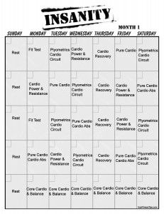 Insanity Vertical Workout Calendar