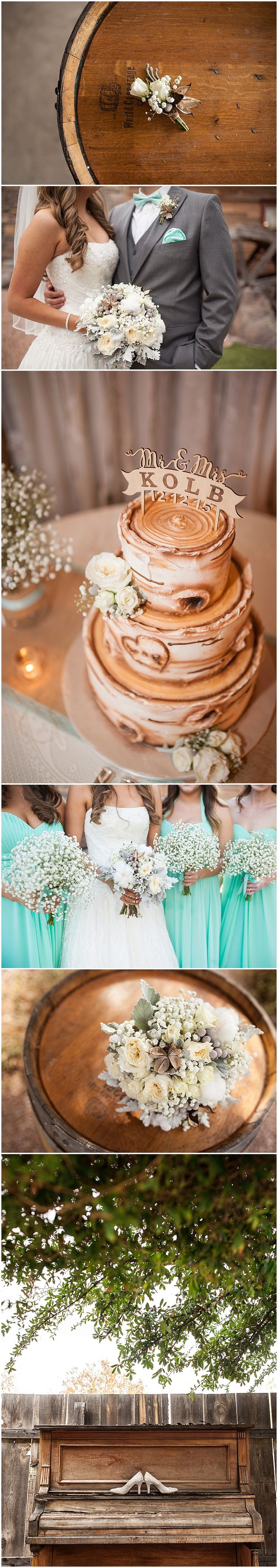 Rustic Shenandoah Mill Wedding with Tiffany Blue bridesmaid dresses and rustic cotton wedding bouquet and wood styled wedding cake