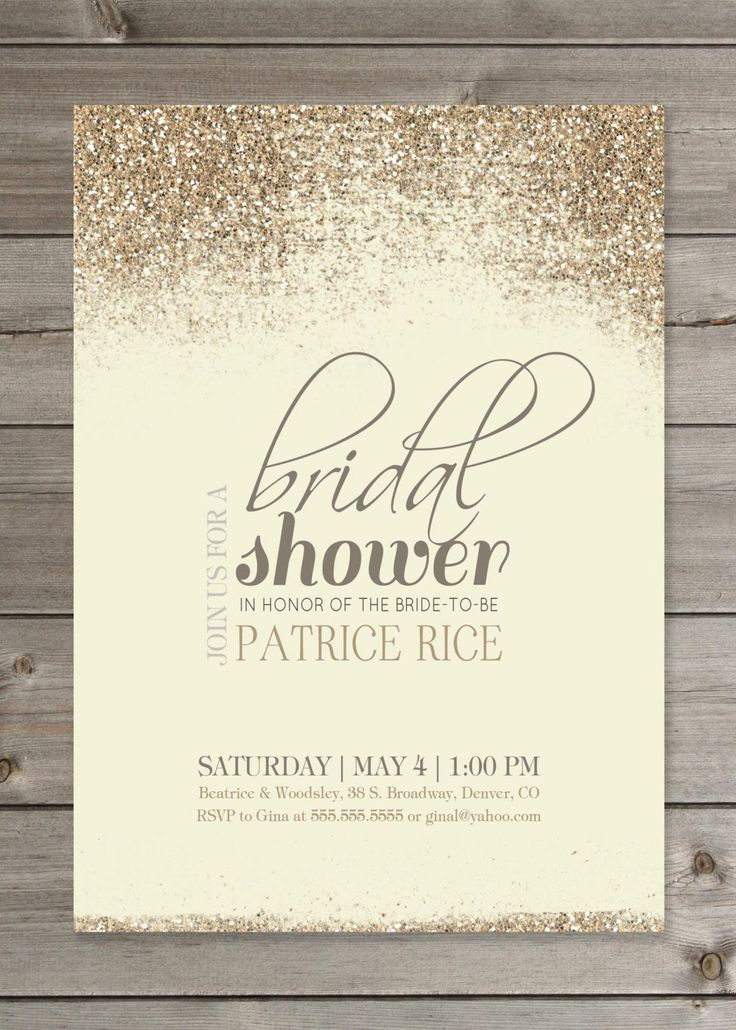 Bridal Shower Invitation DIY PRINTABLE Tan and Gold Glitter 5X7 Digital File. $12.00, via Etsy.