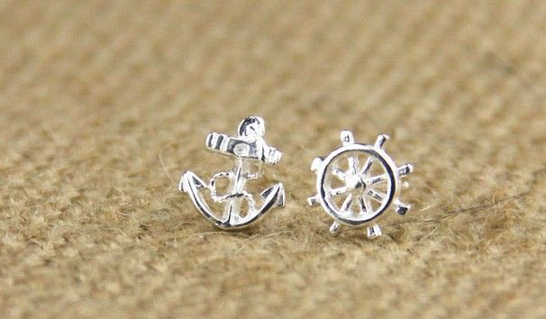 Sterling Silver Anchor Earring Stud // my soft spots for ear studs ya--
