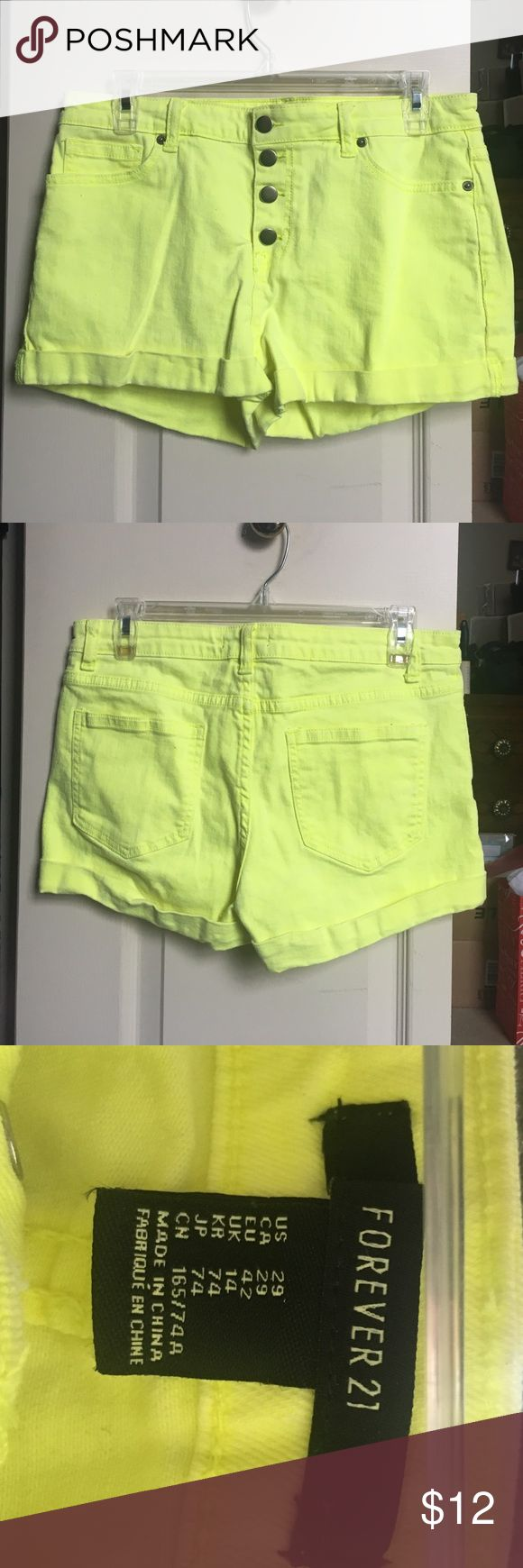 F21 - Neon yellow shorts Cute neon shorts. Size 29. From F21. Brand new never worn without tags. Forever 21 Shorts Jean Shorts