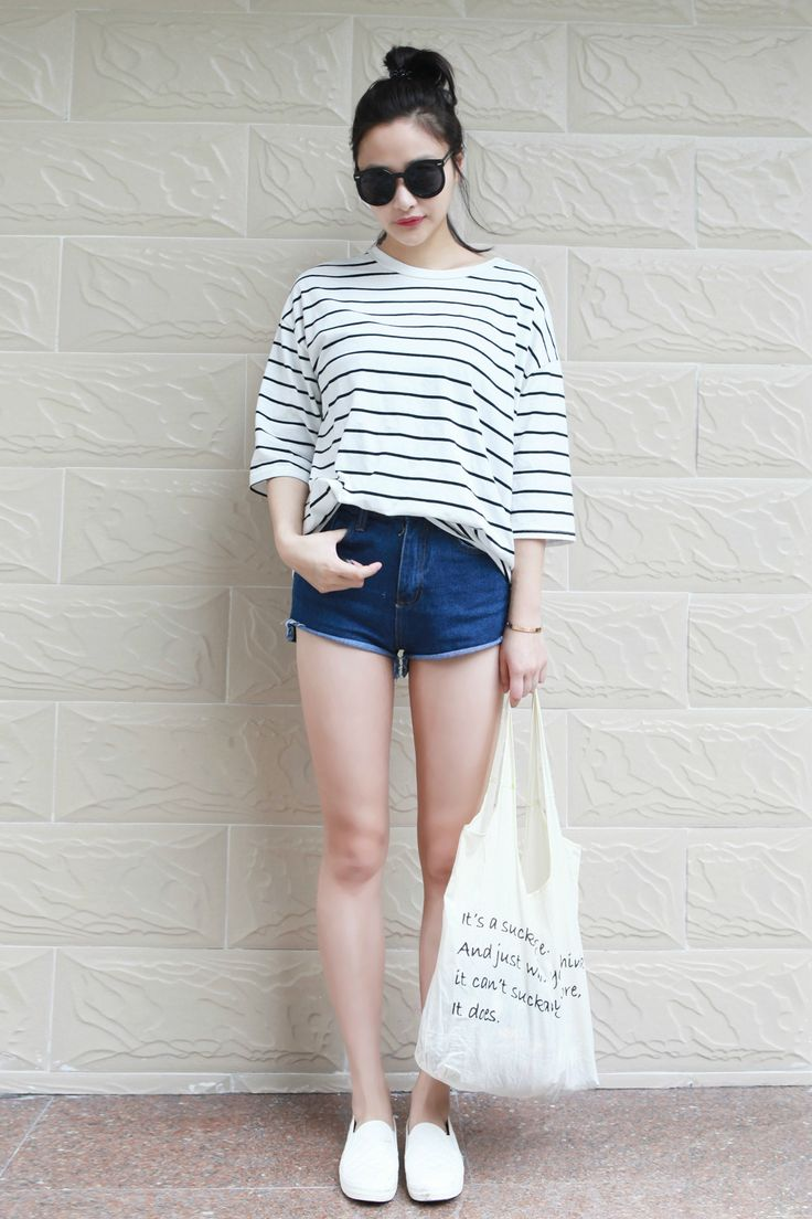 Yes asian street istyle fashion pinterest dark denim striped shirts and loafers Korean fashion style shoes
