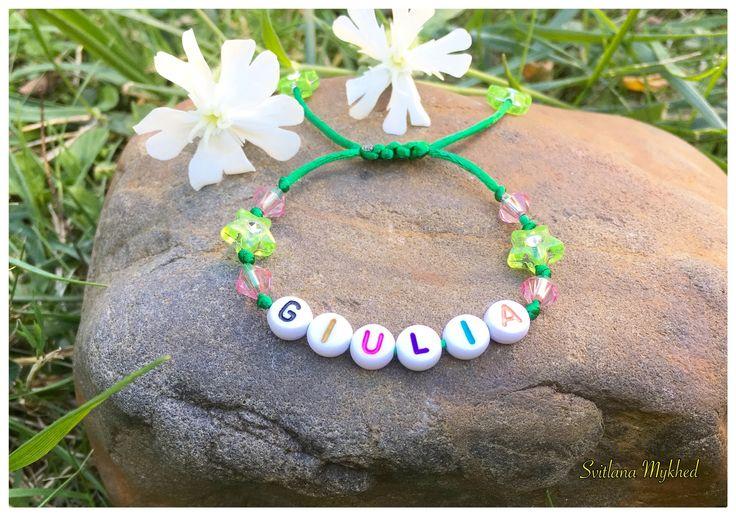"""Braceletbarca """"Giulia"""" . Bracelet avec message ou prenom personnalisable perles acryliques multicolores : Bracelet par perles-et-couronnes"""