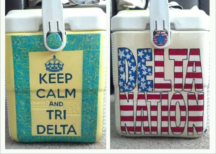 Tri Delta hand painted cooler