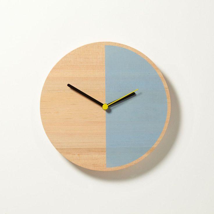 wooden clock, half wood, half light-blue: Vans, Color, Wooden Clocks, Wall Clocks, Lights Blue, White Wall, Half Lights, Primary Clocks, David Weatherhead
