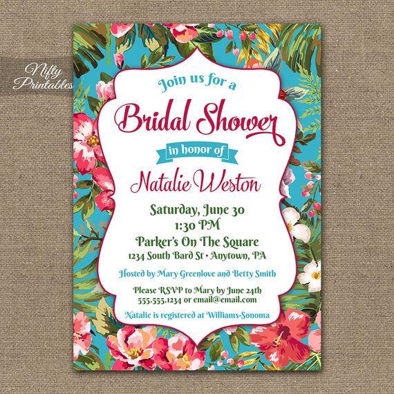 Tropical Bridal Shower Invitations - Printable Hawaiian Bridal Shower Invites - Hawaii Luau Tropical Colorful Bridal Shower Invitation TRP