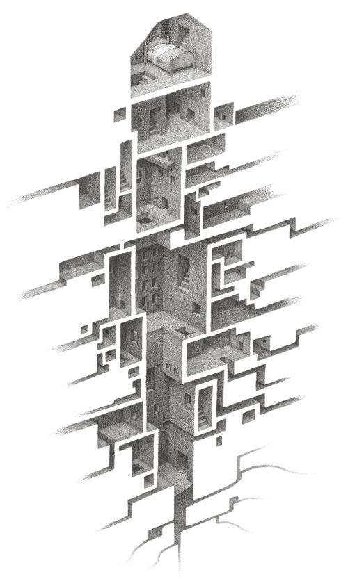 Compelling use of pen and ink to create an unconventional cross section of an abstract series of spaces.