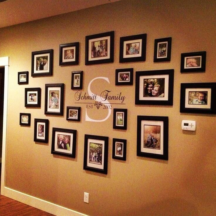 family portraits centered around your monogram walls in 2019 rh pinterest com photo arrangement on wall ideas photo sticking on wall ideas