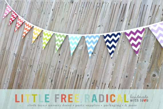 12 FLAG Rainbow Chevron Fabric Pennant Flag Bunting Banner  7.5 feet long for #Rainbow #Party
