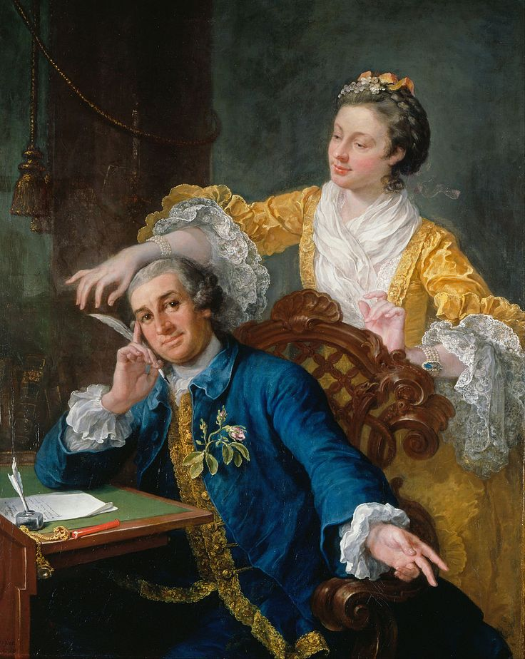 "The most prominent man in the London theatre in the 18thc: David Garrick (1717-79, painted here) by William Hogarth with his wife Eva-Maria Veigel, ""La Violette"" or ""Violetti"" (1725 - 1822) - Royal Collection"