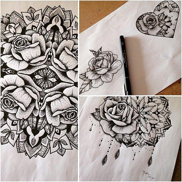 tatouage mandala rose. Black Bedroom Furniture Sets. Home Design Ideas