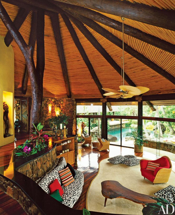 The Living Room Of The Main House Features A Peaked Bamboo Ceiling, A Tree  Trunk The Musician Found On The Island And A Curved Wall Of Windows. Part 84