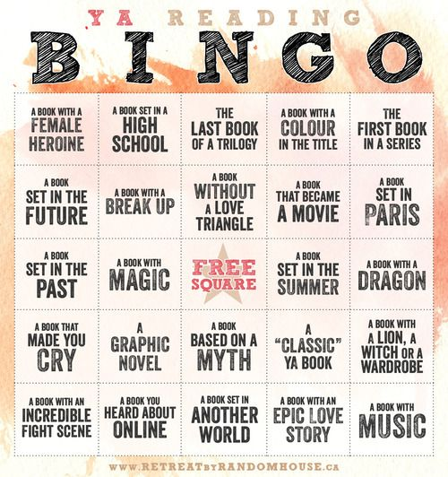 Young Adult reading bingo card! The book with a color in the title is giving me a hard time. Can you guys think of any?
