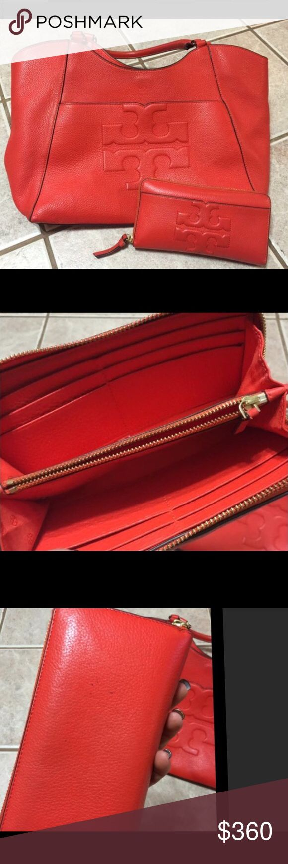 REDUCED Tory Butch TBombe purse &wallet Tory Butch T Bombe purse and wallet.  In excellent used condition with a few signs on wear and minor scratching.  See pictures.  (Small stain inside bag) Color is called Poppy Red but is a true orange color. Tory Burch Bags Shoulder Bags