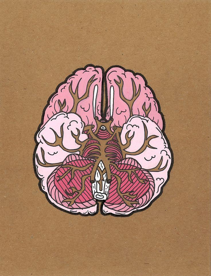 Brain by Andrea Farina.  Gouache  ink on chipboard.  #anatomy #illustration #brain