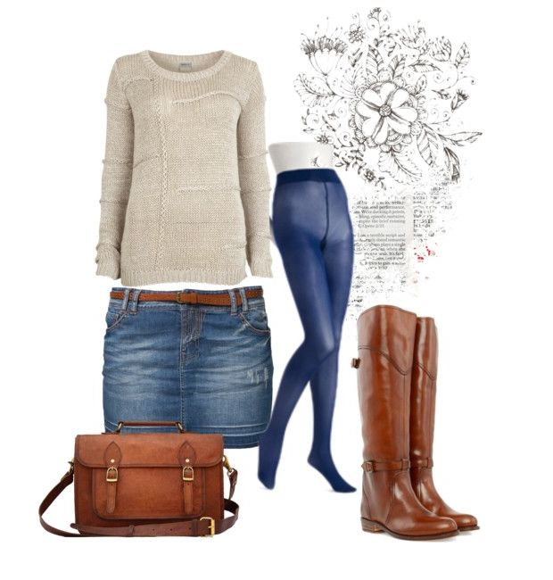 Jean skirt outfit for winter. I'm gonna go buy some of these tights today!