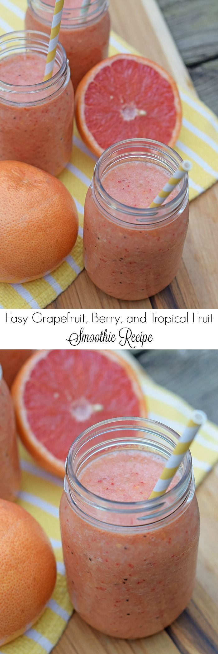How to make a simple, easy, natural fruit smoothie, no sugar added. All you need is fruit and ice for a refreshing Grapefruit, Berry, and Tropical Fruit Smoothie. Printable recipe! | ad