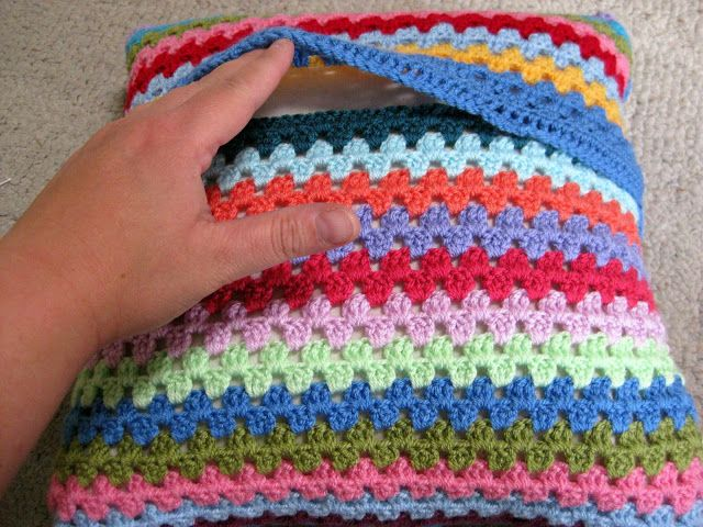 thistlebear: A crocheted pillow cover