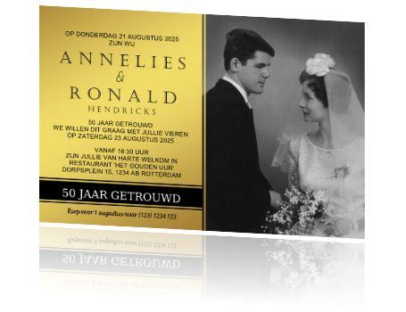 Gouden 50 jarig huwelijksjubileum uitnodiging met eigen foto