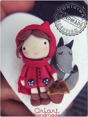 Orlart - Cappuccetto Rosso e il lupo in fimo handmade