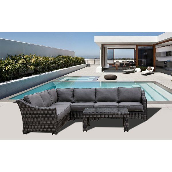 Donley Rattan Sectional Set With Cushions Resin Patio Furniture Wicker Patio Furniture Set Patio Furniture Sets