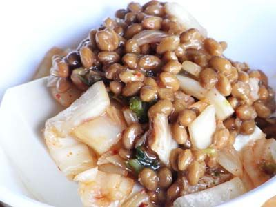 """Natto and kimchi over fresh tofu - This blog has lots of good and simple ideas for how to incorporate the Japanese food """"natto"""" into your diet. Natto is very high in vitamin K2 - good for bone health (prevent and manage osteoporosis) and also plays a role in cardiovascular health."""