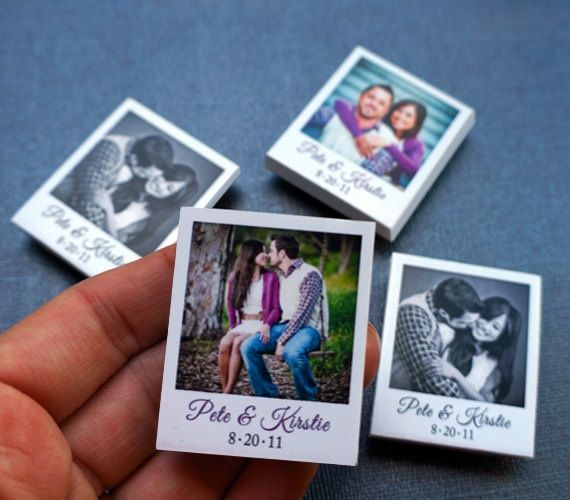 150 Creative Wedding Favors - Custom Mini Polaroid Magnets with Captions.