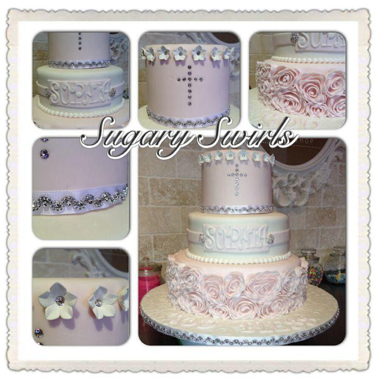 Baptism Cake for Girls @sugaryswirlsco