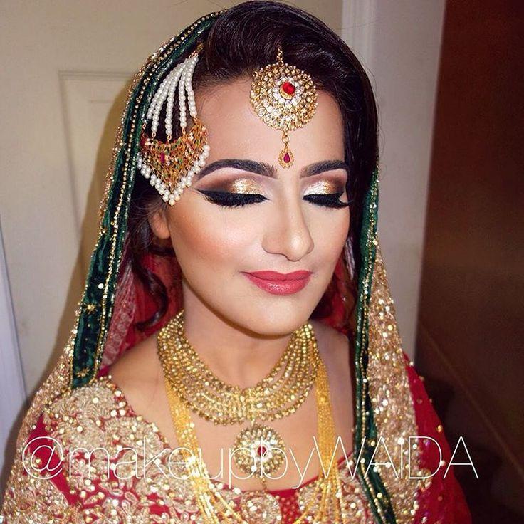 Aisha's wedding day look! ❤️ One of the prettiest bridal looks ever! MashAllah   Makeup/Hair/Dupatta setting/Jewelry setting by #makeupbywaida