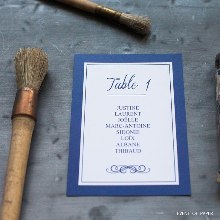 Plan de table élégant bleu JUSTINE ET LAURENT