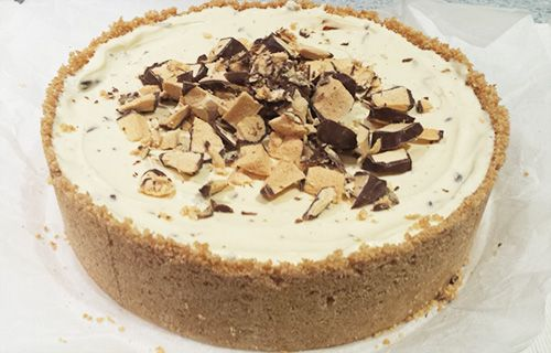 Violet Crumble Cheesecake, no bake, easy, quick, delicious, chocolate honeycomb