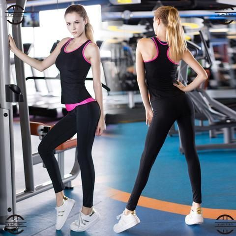 2 PCS  Quick Dry Running Set Women Pants Sport Suit Training Tank Top Fitness Tights Gym Tracksuit Yoga Sets