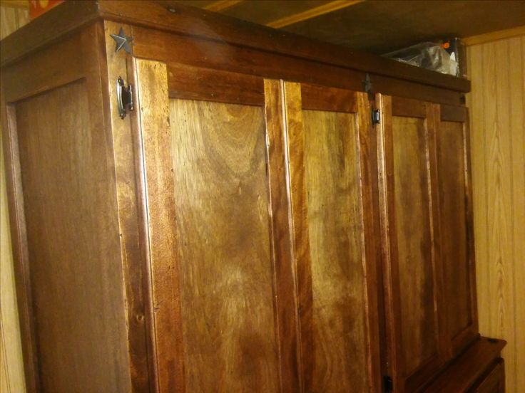 Glowing Mahogany Distressed Cabinet