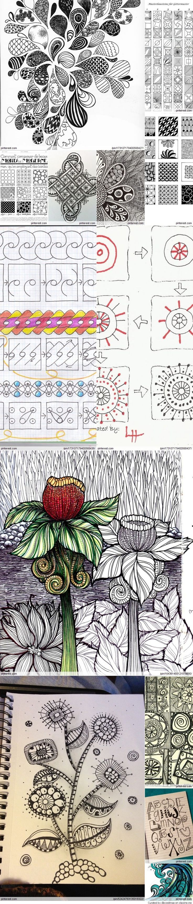 zentangle and doodle                                                                                                                                                      Más