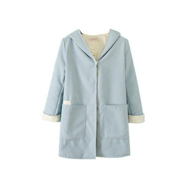 Light Blue Hooded Wool Coat In Longer Length JA0170059 (977.260 VND) ❤ liked on Polyvore featuring outerwear, coats, jackets, blue wool coat, wool coat, blue coat and woolen coat
