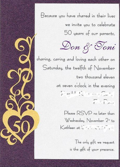 50th wedding anniversary party invite