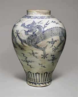 An Important and Monumental Blue and White Porcelain Dragon Jar   Joseon dynasty…
