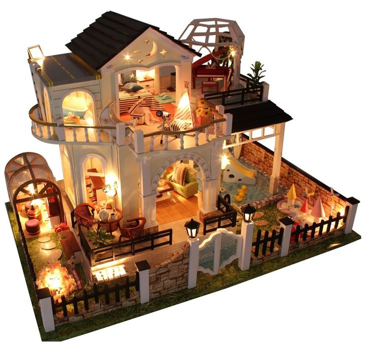Dollhouse Miniature DIY Kit Large Villa With Furniture Handycraft Birthday Gift  #Hoomda