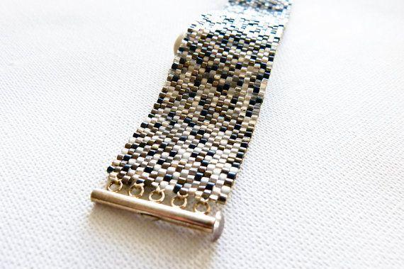 Matrix. Urban cuff/ bracelet. Silver Titanium Metallic mix modern chic jewelry.. $87.00, via Etsy.
