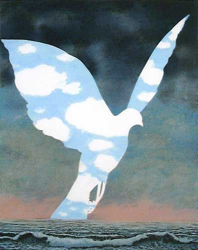 This painting by Rene Magritte really makes me happy! I love birds and sky and sea
