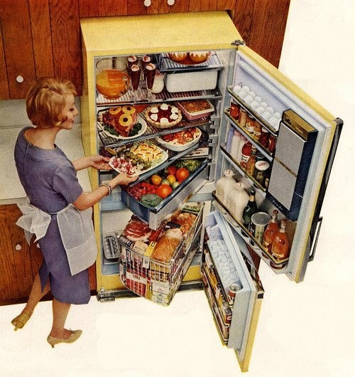 GE Fridge from 1960 - I LOVE the swing-out shelves. Wish I could buy one like this.