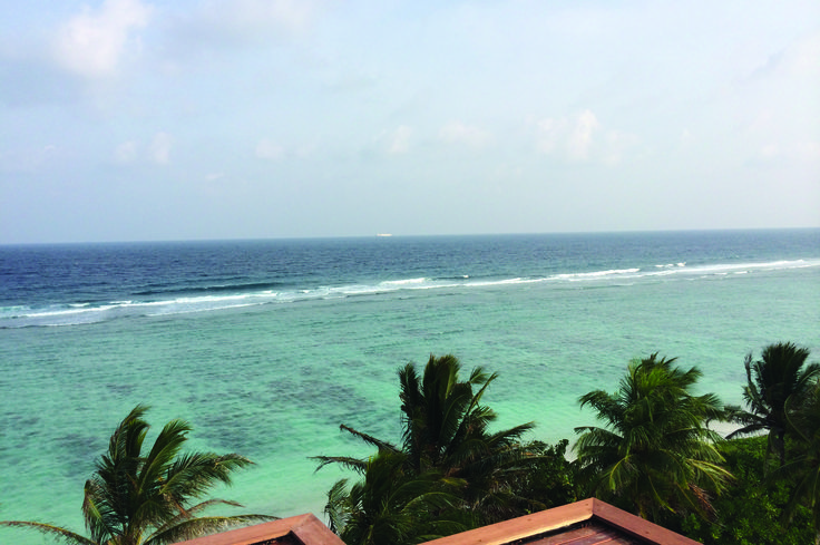 Indian Ocean view from the terrace at Airport Beach Hotel