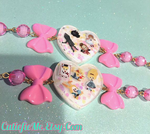 Fairytale Magical Alice or Oz Bracelet With Pink Bows