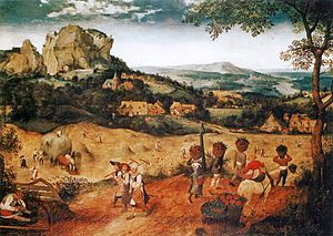 """The Hay Harvest"" by Pieter Bruegel the Elder, c. 1565, is an oil on wood, which is on display at the Lobkowicz Palace at Prague Castle, inside, the Czech Republic. (1525-1569)"