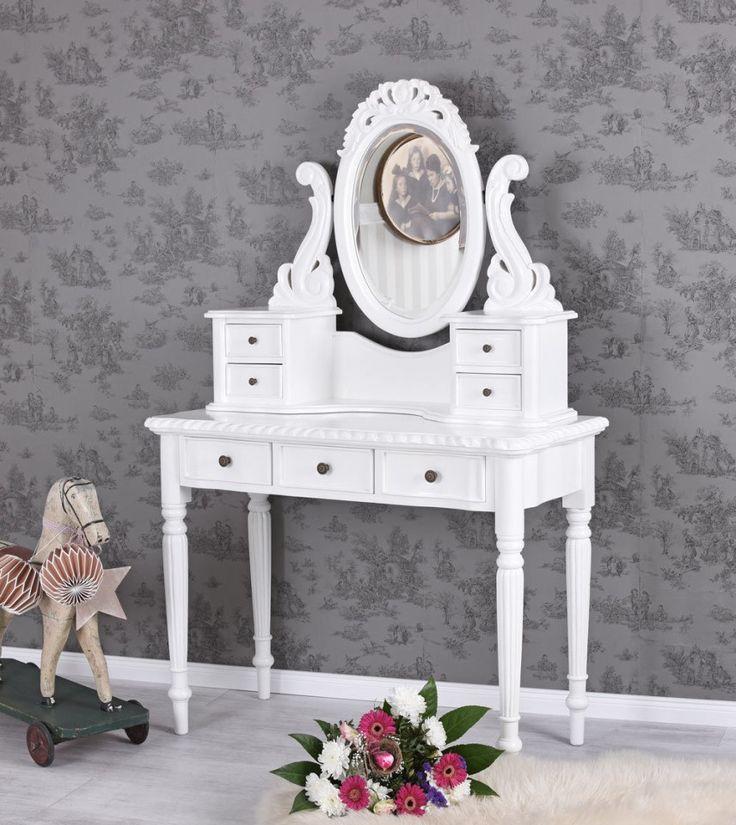 SEA68 - Măsuță de toaletă cu 7 sertare și oglindă - http://www.emobili.ro/cumpara/sea68-set-masa-alba-toaleta-cosmetica-machiaj-masuta-vanity-oglinda-698 #eMobili