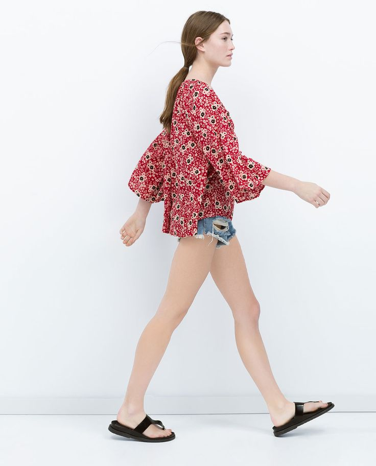 Image 3 of FLORAL PRINT TOP from Zara